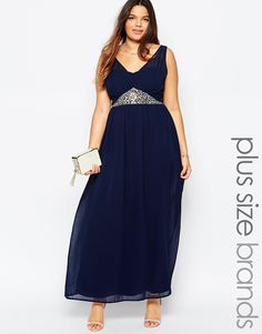 Club+L+Plus+Size+Maxi+Dress+With+Embellished+Waist