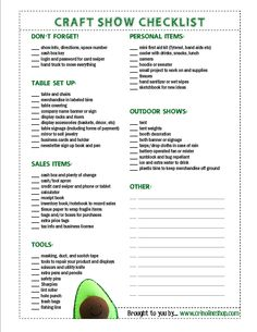 craft show application template