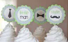 """12 - Little Man """"Oh Boy"""" Mustache Theme Baby Shower Black Lime & Grey Chevron Cupcake or Cake Toppers - Ask About our Party Pack Sale Coral Baby Showers, Grey Baby Shower, Baby Shower Games, Leo Birthday, First Birthday Parties, First Birthdays, Birthday Ideas, Mustache Theme, Mustache Party"""
