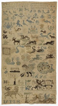 """Detached motifs of religious significance plus animals, birds, flowers. This sampler is medium: silk and metal-wrapped silk embroidery, linen foundation technique: cross and double running stitches on plain weave. Its dimensions are: H x W: 61.6 x 34.6 cm (24 1/4 x 13 5/8 in.). This sampler is from Germany and dated """"1697""""."""