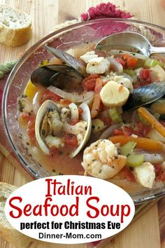 Looking for Christmas Eve dinner ideas? Italian Seafood Soup is a special dish that's ready quickly! Click here for the recipe. #Christmas #recipe #Christmasdinner #xmas #seafoodsoup