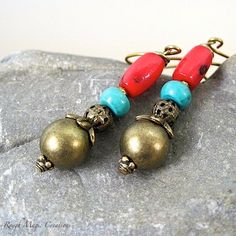 Antique Brass, Turquoise Magnesite & Red Coral Earrings. by RoughMagicCreations