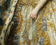 'Marie Leszczinska, Queen of France' (detail with fan) 1747 by Charles-André van Loo