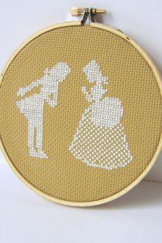Couple silhouette cross stitch. via Etsy.