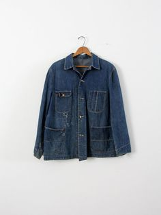 vintage Sanforized denim jacket / 1940s men's work by IronCharlie,
