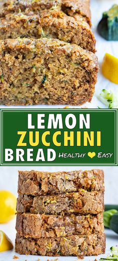 Sneak your veggies in at breakfast with this Healthy Lemon Zucchini Bread that is super moist, full of fresh lemon zest, and LOADED with grated zucchini squash. Learn how to make the best quick bread recipe that can easily be made with gluten-free flour, vegan ingredients, and makes a great summer dessert or snack cake. #lemon #zucchini #bread #cake #breakfast Lemon Zucchini Bread, Zucchini Bread Recipes, Zucchini Squash, Quick Bread Recipes, Snack Recipes, Healthy Recipes, Healthy Desserts, Brunch Recipes, Summer Recipes