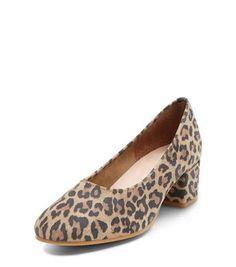 Camel Premium Leather Leopard Print Block Heels