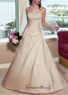 Beautiful Elegant Satin A-line Strapless Wedding Dress In Great Handwork