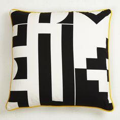 Darkroom Aztec Cushion, Black and White, Yellow Piping Black And White Pillows, Black And White Interior, White Cushions, Aztec Pillows, Bed Pillows, Green Master Bedroom, Home Trends, Soft Furnishings, Yellow Black