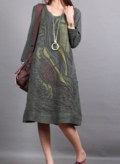 Armygreen cotton dress 3/4 sleeve dress maxi dress casual linen dress cotton shirt large size tops embroidered cotton blouse plus size dress