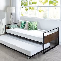 online shopping for Zinus Suzanne Twin Daybed Frame / Premium Steel Slat Support from top store. See new offer for Zinus Suzanne Twin Daybed Frame / Premium Steel Slat Support Metal Daybed, Wood Daybed, Mattress Frame, Mattress Sets, Foam Mattress, Bedroom Furniture, Home Furniture, Furniture Design, Furniture Removal