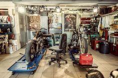 Documentation of a Harley garage in France. Made by FUXPIX harley cogolin Motorcycle Workshop, Motorcycle Shop, Motorcycle Garage, Garage Bike, Man Cave Garage, Garage Shop, Mechanic Shop, Ultimate Garage, Cool Garages
