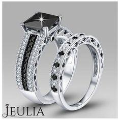 Black Diamond Ring #jeulia #blackring #fashionjewelry