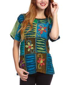 Look at this #zulilyfind! Blue Floral Patchwork Boatneck Top #zulilyfinds