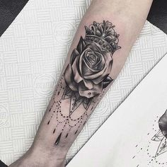 12 Creative Crown Tattoo Ideas for Women: #1. CROWN AND ROSE
