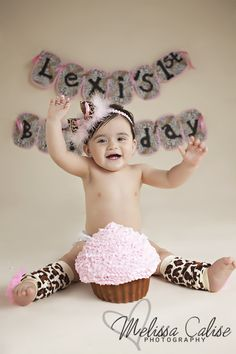 Melissa Calise Photography (First Birthday 1st Girl Cake Smash Leopard Pink Leg Warmers Photo Shoot Ideas)