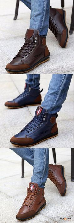 US$33.89+Free shipping. Men Shoes, High Top Sneakers, Ankle Boots, Lace Up Shoes. Color: Light Brown, Dark Brown, Navy Blue. Shop now~