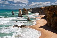 The Twelve Apostles - Victoria, Australia by Richard Mikalsen, wikipedia: This collection of limestone stacks was created by erosion from the Southern Ocean which formed caves in the cliffs, which then gave way to arches, which in turn collapsed, leaving rock stacks up to 45m high. #Australia #The_Twelve_Apostles
