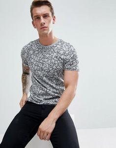 Jack & Jones Premium Crew Neck T-Shirt In Scribble Print - Gray