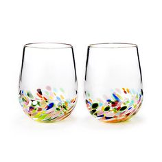 Look what I found at UncommonGoods: Confetti Wine Glasses - Set of 2 for $80 #uncommongoods