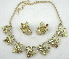 Coro Rhinestone Spray Necklace Set - Garden Party Collection Vintage Jewelry