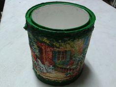 Reciclar lata de tintas com decopagem