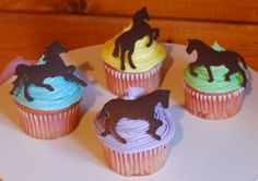 Fun Spring Horse Cupcakes! - A selection of spring-themed horse cupcakes I made for the tack sale. The horses are piped chocolate.
