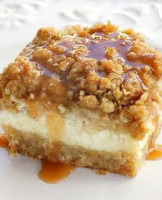 Caramel Apple Cheesecake Bars. I just made this today! It's in the oven right now so it will be ready for hubby when he gets home from work :)