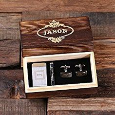 Personalized Gentleman Gift Set Cuff Links Money Clip Tie Clip with Wood Box