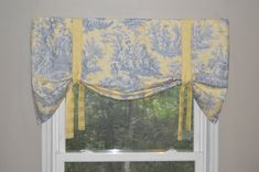 Window Treatment Tie Up Valance Toile Valance by BandedPillows