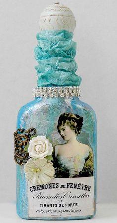 Bottle-in-blue Gail Schmidt of Shabby Cottage Studio