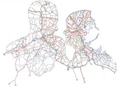 Incredible portraits using cut discarded maps by Nikki Rosato