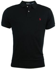45caf7dc1d49 Polo Ralph Lauren Mens Custom Fit Interlock Polo Shirt - S - Black at Amazon  Men s Clothing store