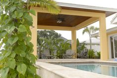 This beautiful cabana, located by the water in Tampa, FL, contains a ceiling made from East Teak's ipe and has received many compliments Ipe Wood, Cabana, Teak, Pergola, Ceiling, Outdoor Structures, Windows, Beautiful, Ceilings