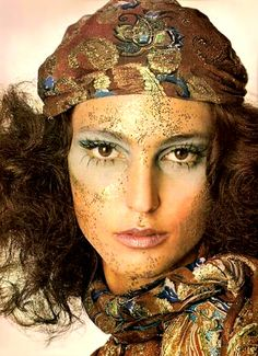 Benedetta Barzini - a face flecked with gold