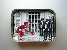 Artist Jim Doran makes mini dioramas inside small tins!