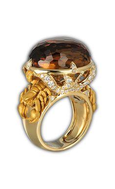 Ring scorpion quartz  SO 1779.1     Yellow Gold 18KT, diamonds and whisky quartz #Magerit #ScorpionCollection #jewels