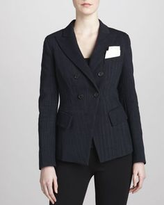Fitted Cutaway Double-Breasted Jacket  by Donna Karan at Neiman Marcus.