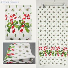 "4 Yds Vtg 50s Christmas Candy Cane Novelty Border Print Cotton Fabric Unused 36"""