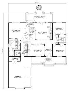 First Floor Plan of Craftsman House Plan 61395