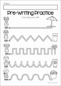 Summer Review Preschool No Prep Worksheets & Activities. Pre-writing practice.