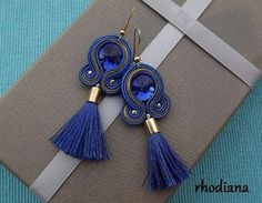 Sapphire & Gold with tassel soutache earrings Soutache Earrings, Blue Earrings, Beaded Earrings, Beaded Jewelry, Handmade Jewelry, Handmade Necklaces, Soutache Tutorial, Earring Tutorial, God's Eye Craft