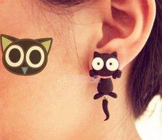 Staring Black Cat Cartoon Earrings