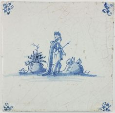 Antique Dutch Delft tile with a King in a typical Dutch landscape, 17th century