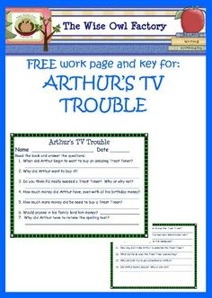 FREE PDF work pages for Arthur's TV Trouble from Wise Owl Factory, answer key included Fierce 5, 5th Grade Reading, Media Studies, Media Literacy, Wise Owl, Teaching Tips, Classroom Management, Teacher Resources, Library Ideas