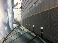 A bespoke 2 ½ km aluminium walkway installed by Eurosafe Solutions to the glazed north lights at the new Heathrow airport terminal 2.    This fall protection system will keep workers safe when accessing the T2 roof area.