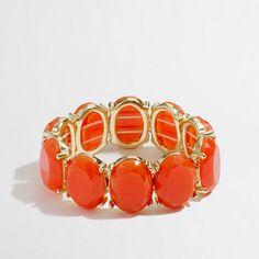 J.Crew - Factory Gold-Plated Oval Stone Stretch Bracelet $19.50