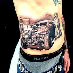 Awesome car tattoo, unknown artist