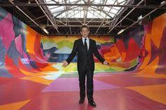 Nicholas Sarkozy enjoying the new installations at the Palais de Tokyo