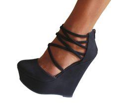 Black Suede Platform Wedge Strappy Criss Cross Heels Pumps Booties Shoes 8 #ShoeRepublicLA #PlatformsWedges